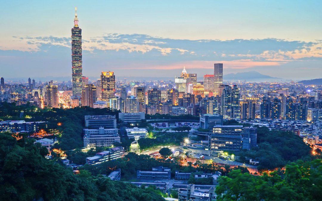 Taipei, Taiwan at dusk
